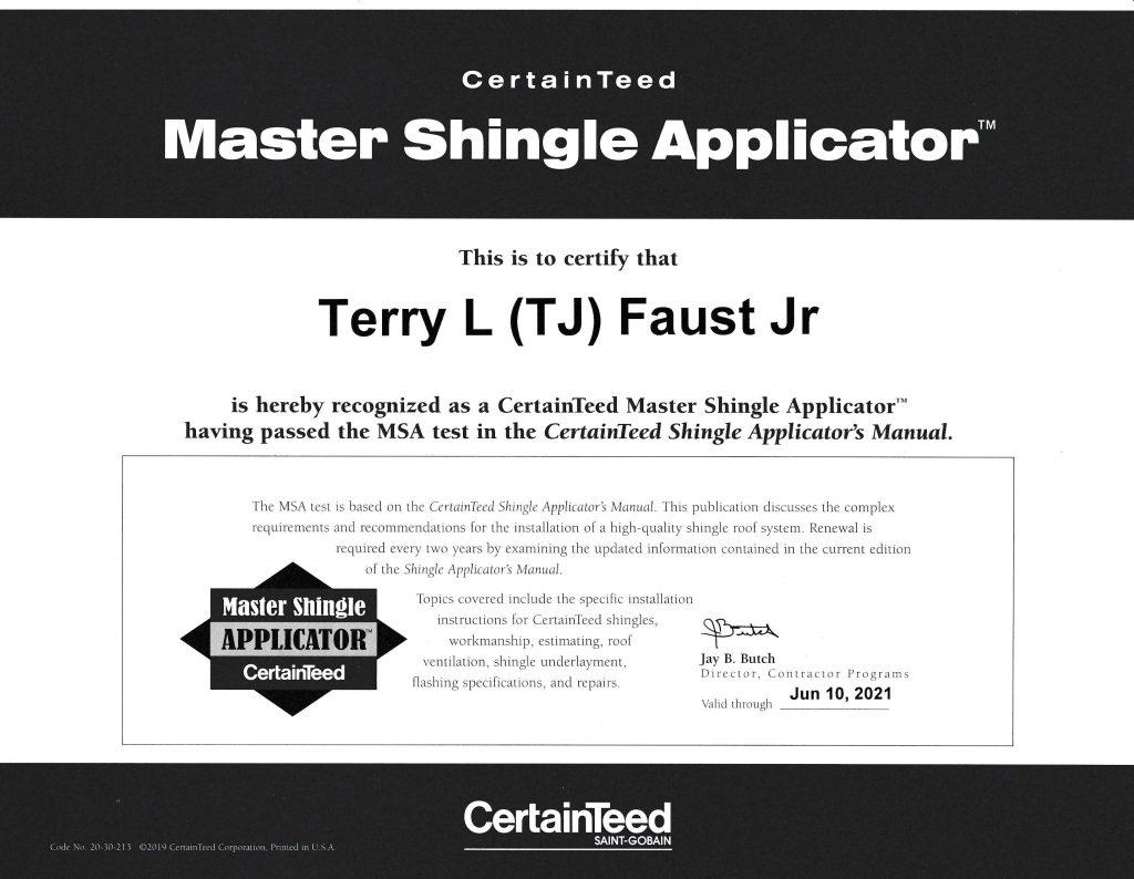Master Shingle Applicator Certificate